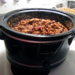 Vegetarian chili in a crockpot
