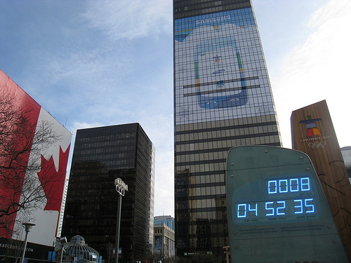 8 Days countdown at Olympic Clock downtown