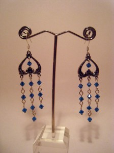 Blue Dangle Earrings by Monnibo Designs