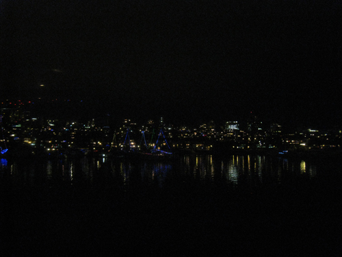 Boats moored in False Creek all lit up
