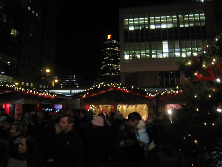 Crowds inside the Vancouver German Christmas Market