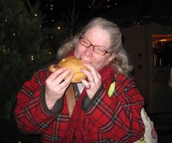 Tammy enjoying her Bratwurst