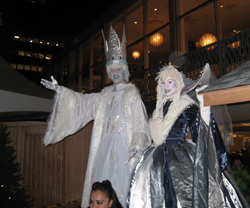Stilt walkers at the German Christmas Market