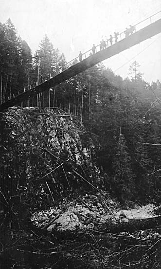 View of Capilano Suspension bridge (circa 1905) Photo from the Vancouver Archives online database