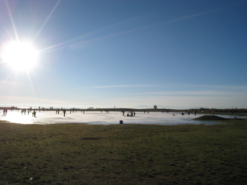 Frozen puddle in Steveston is a makeshift ice rink