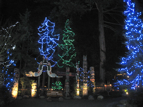 Native totems part of the historical display at Canyon Lights