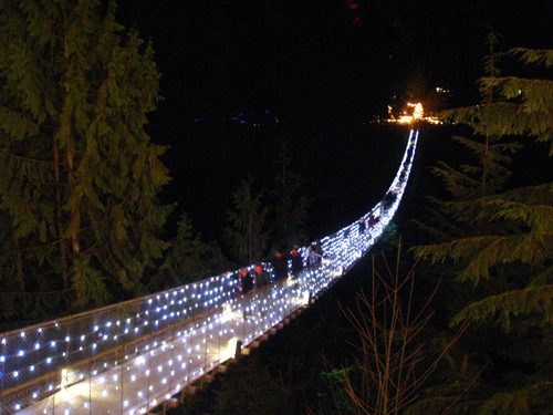 Capilano Suspension Bridge all lit up during Canyon Lights