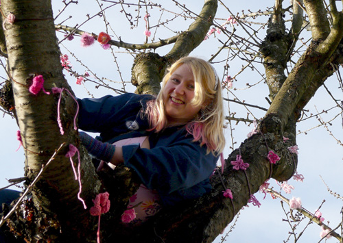 Me in the cherry tree, yarnbombing at Historic Joy Kogawa House