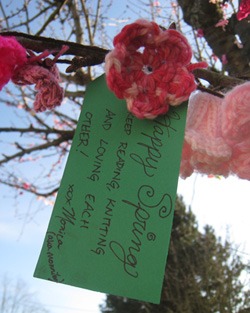 My tag for the cherry tree with one of the blossoms I made