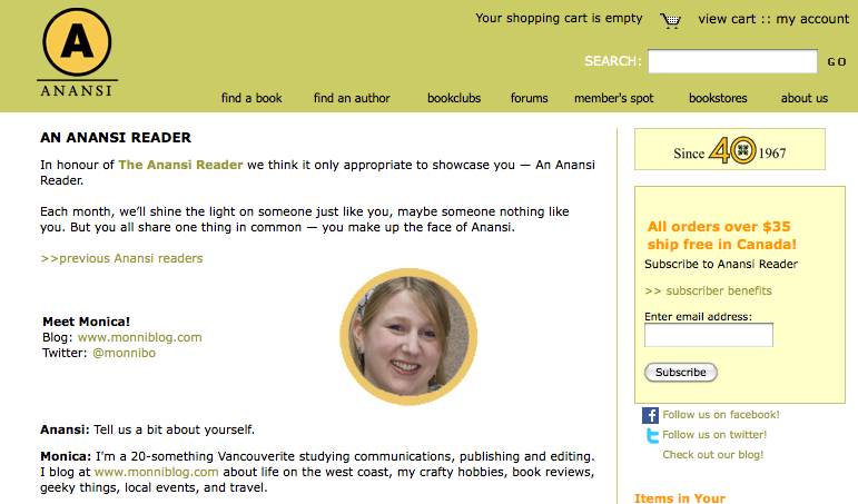 House of Anansi Press - Featured Reader (June 2011)