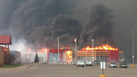 Slave Lake library burning