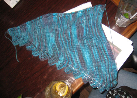 Gaenor shawl is halfway done