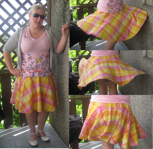 Yellow plaid circle skirt