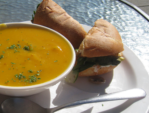 Soup and sandwich at Bambo Cafe