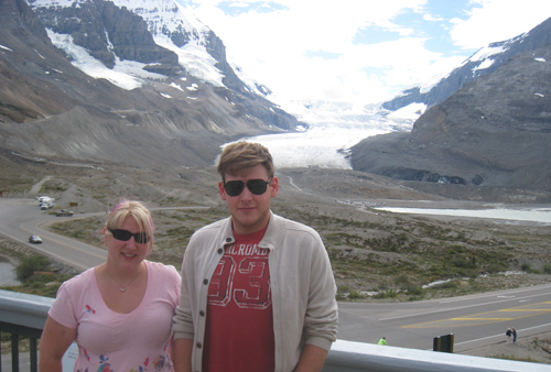 At the visitor's centre of the Athabasca Glacier