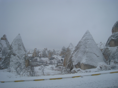 Snow-covered peaks in Goreme, Cappadocia. Turkey