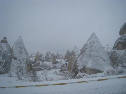 Snow-covered peaks in Goreme, Cappadocia. Turkey