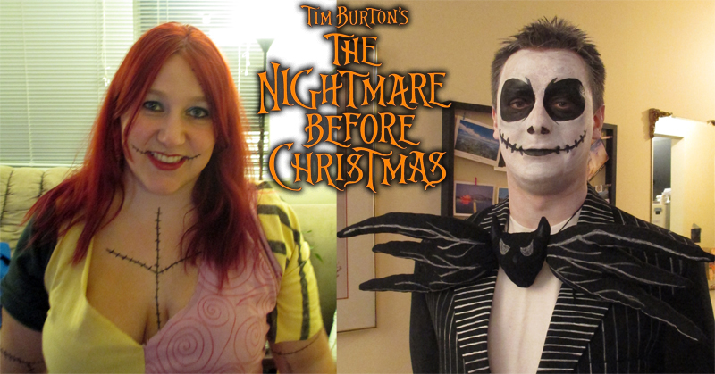 monica so dressed as jack sally from nightmare before christmas - Nightmare Before Christmas Halloween Costume