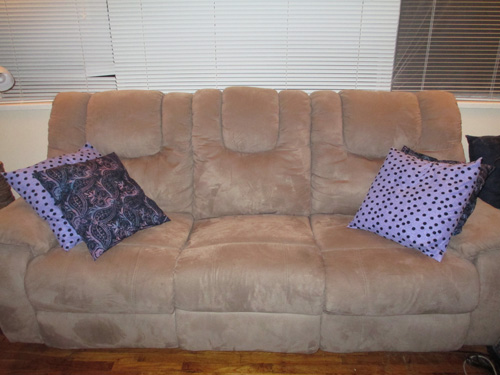 New Pillowcases on Couch