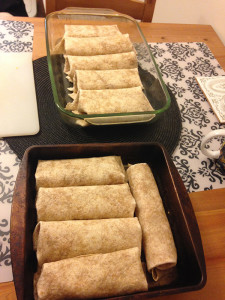 Enchiladas in separate dishes